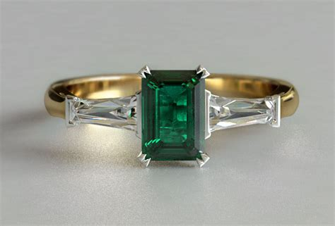 yellow gold emerald 3 engagement ring new