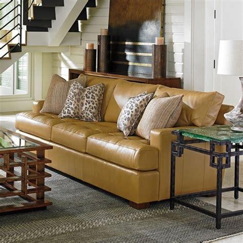 Tommy Bahama Island Fusion Osaka Leather Sofa In Supple Living Room Furniture Island