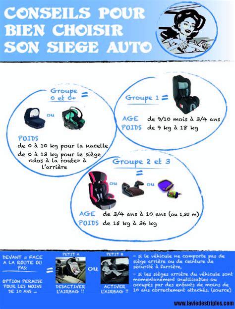 siege auto enfant legislation choisir si 232 ge auto infographie la vie des tripl 233 s