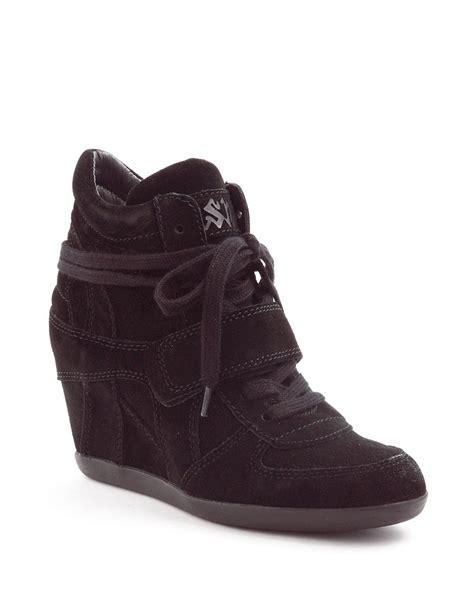 ash black sneakers ash bowie suede wedge sneakers in black lyst