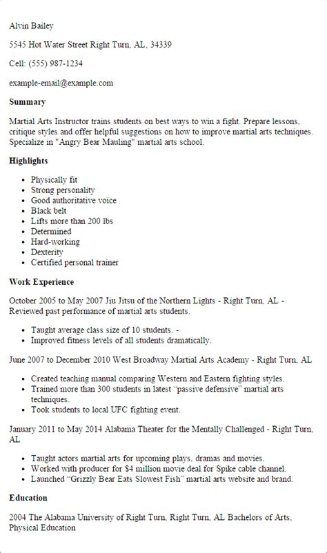 Sample Resumes For Freshers by Professional Martial Arts Instructor Templates To Showcase