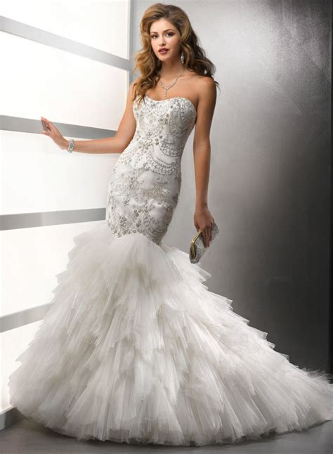 mermaid wedding dress with beading get cheap silver wedding dresses aliexpress