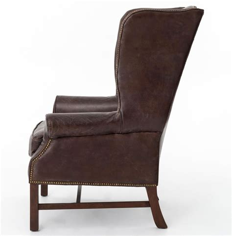 Bishop Chairs by Bishop Masculine Top Grain Cigar Brown Leather Wing Chair Kathy Kuo Home