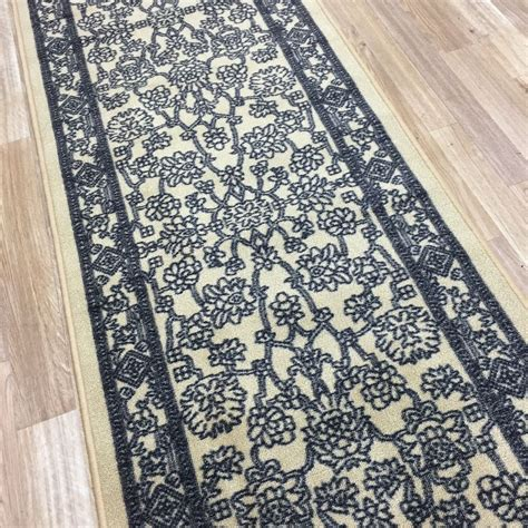 rubber rug runners custom size stair hallway runner rug rubber back traditional beige 2052 ebay