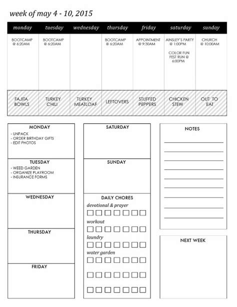 Week At A Glance Calendar Diy Printable Planner 187 Collier