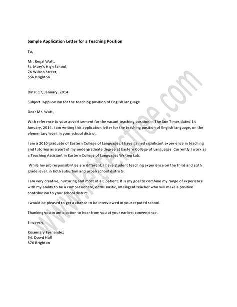 College Letter To Prospective Students A Well Written Business Style Application Letter For A Teaching Position Should Go Along With