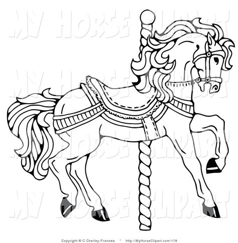 clip art of a coloring page of a carousel horse facing