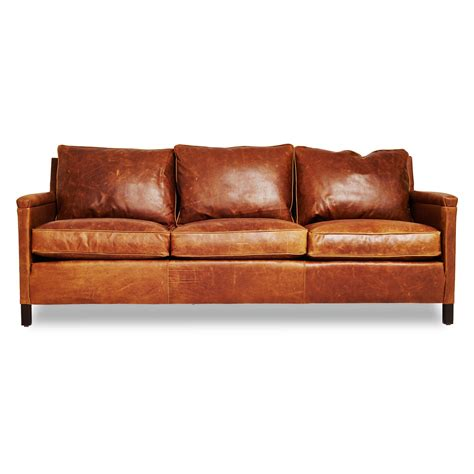 cognac leather chair and ottoman the heston gives an urban edge to the classic leather sofa