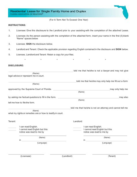 Rental Agreement Template Florida by Free Florida Association Of Realtors Residential Lease