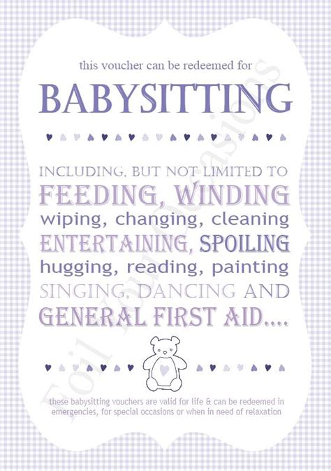 printable babysitting vouchers baby sitting vouchers great for a prizes for baby shower