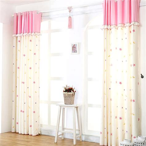pink and beige curtains modern beige cotton and linen pink kids star curtains