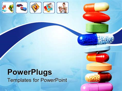 Powerpoint Template Stack Of Various Pills And Capsules On Light Blue With White Background And Pills Powerpoint Template
