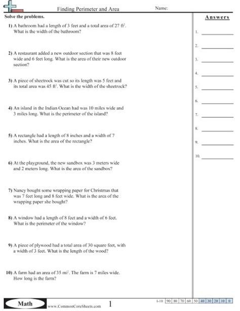 word printable area error area and perimeter word problems worksheets free