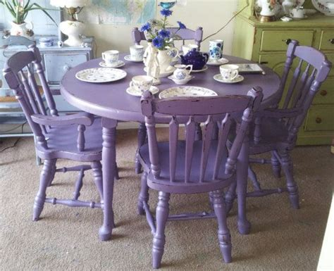 Purple Kitchen Table Purple Antique Shabby Chic Mahogany Dining Table Chairs Painted Furniture Upcycle
