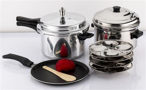 induction cooking dosa mahavir 3pc 5 0 liter induction pressure cooker non stick dosa tawa with idly cooker combo