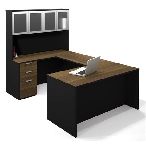 bestar u shaped desk bestar pro concept u shaped desk with high hutch 110855 1598
