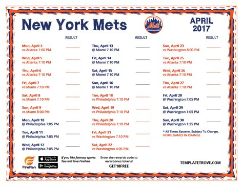 printable 2017 new york mets schedule