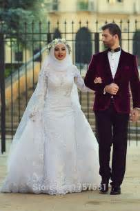 muslim wedding custom made 2015 white arab muslim wedding dresses white lace appliques wedding gowns