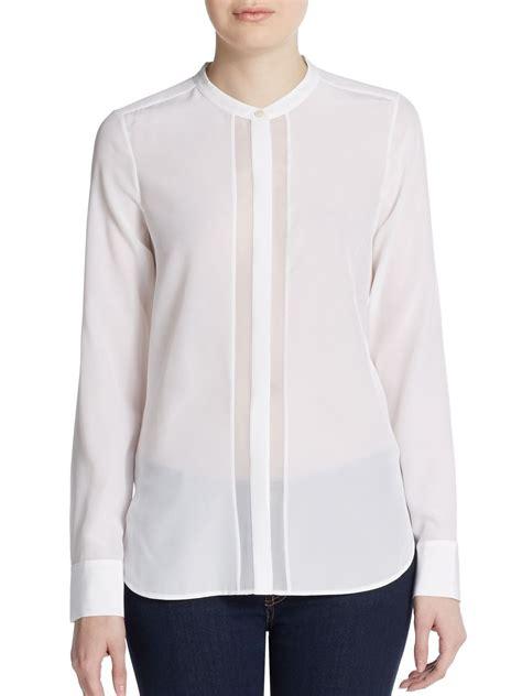 white sheer silk blouses for women vince sheer panel silk blouse in white lyst