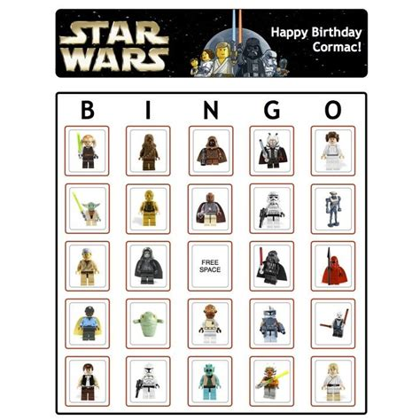 printable lego star wars bingo cards 30 best images about bingo invites thank yous more on
