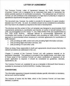 Agreement Letter Format Exles Letter Of Agreement 15 Free Documents In Pdf Word