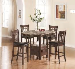 cappuccino finish oval faux marble top modern 5pc dining set