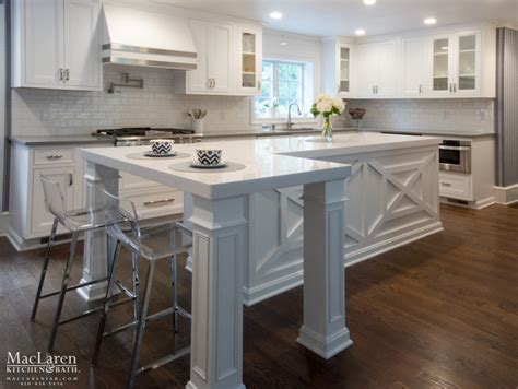 How Thick Are Countertops by White Quartz Transitional Kitchen Bryn Mawr Pa