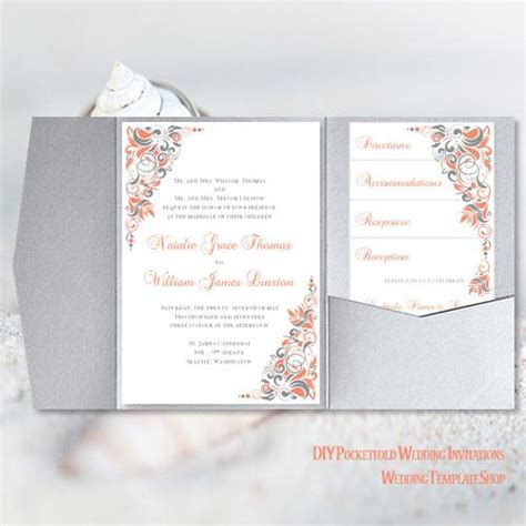 Pocket Invitation Template Diy Printable Wedding Wedding Template Shop Pocketfold Invitation Template