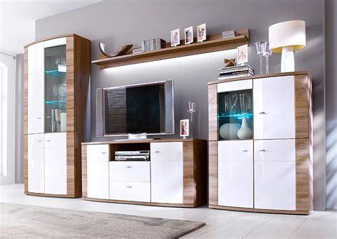 Wohnzimmermöbel Serie by Wohnwand In Wei 223 Hochglanz Und Eiche Tr 252 Ffel Wohnzimmer