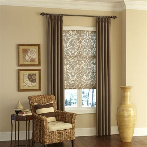 fabric window treatments layered fabric window coverings traditional living room by blinds com