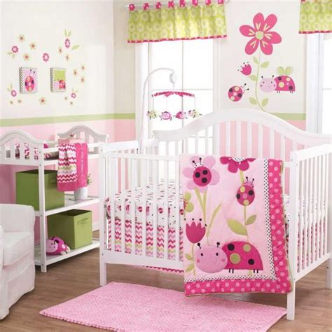 Pink And Brown Ladybug Crib Bedding Ladybugs And Flowers With Pink Polka Dots 3 Pc