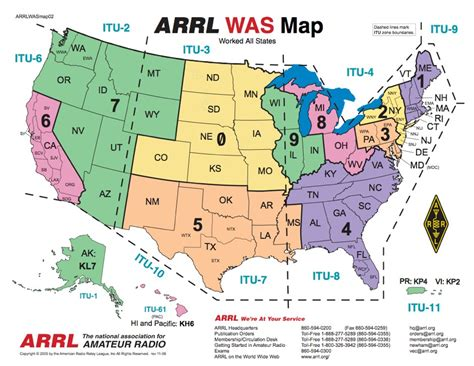 arrl section list ham radio maps operating aids maps