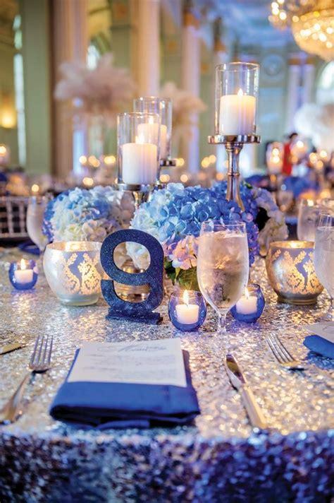 wedding blue centerpieces