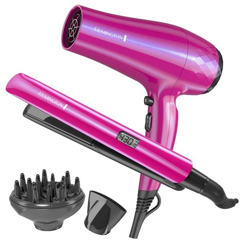 Combo Pack Of Hair Dryer Straightener And Curling Iron uv baked ceramic dryer and straightener gift set remington products