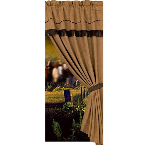western curtain tie backs western decor window curtain with embroidered barbwire 60x84