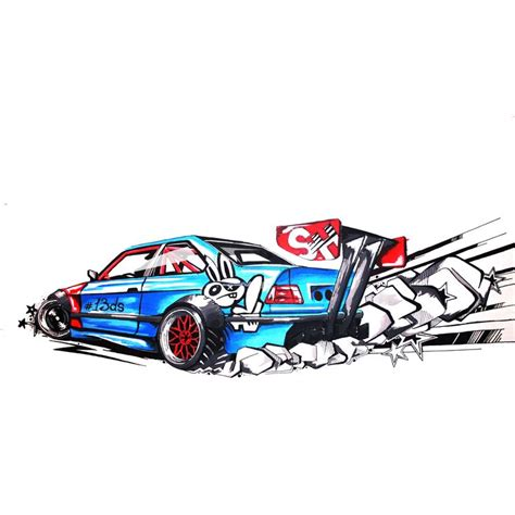 Wide Body E36 Bmw M3 Drift Car Illustration My