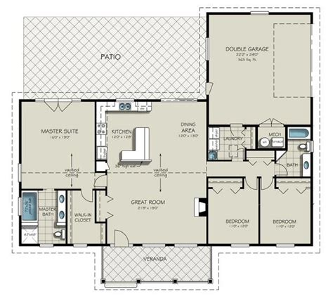 ranch floor plans with great room ranch style house plan 3 beds 2 baths 1924 sq ft plan 427 6
