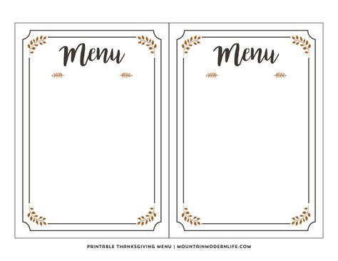 Free Printable Thanksgiving Menu Mountainmodernlife Com Blank Menu Templates Free