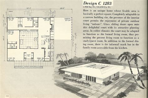 vintage home floor plans mid century modern house plans modern