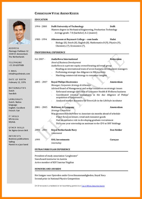 typical cv 6 standard cv format free janitor resume