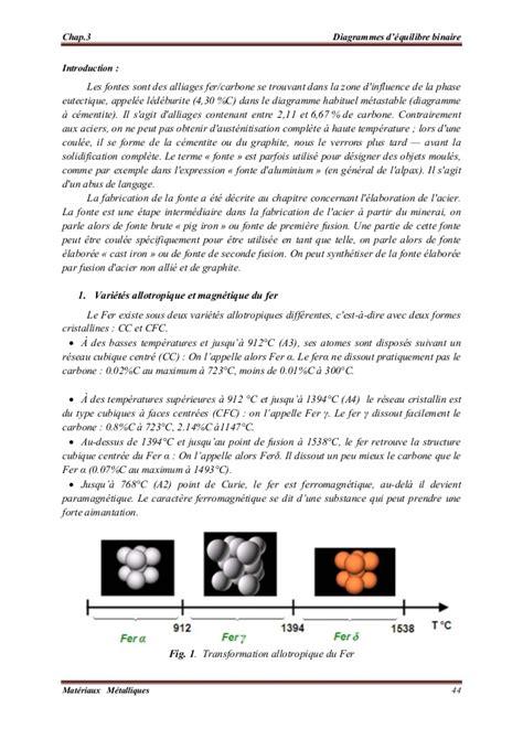 diagramme de phase fer carbone complet 233 tude du diagramme fer carbone