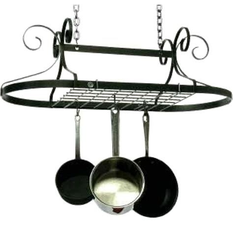 Saucepan Rack Oval Pot Rack Hammered Steel In Hanging Pot Racks