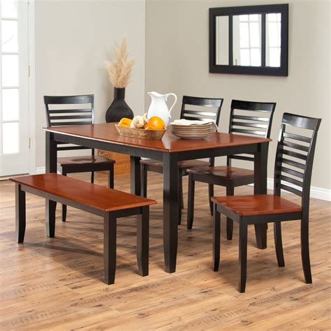 wood kitchen table with bench and chairs dining room appealing black kitchen table set 3 piece