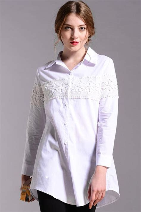Sleeves Blouse White kettymore sleeves plus size shirt and blouse