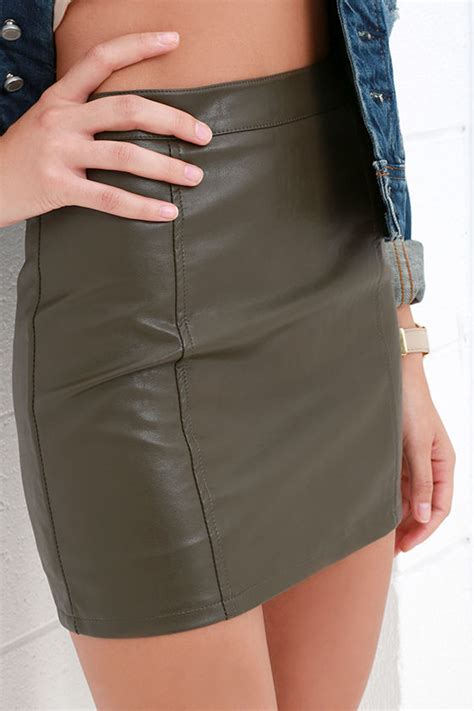 vegan leather skirt khaki skirt mini skirt 49 00