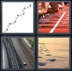 4 Letter Words Race 4 pics 1 word answer for footprint race sand