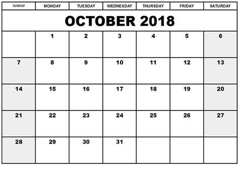 printable calendar october 2018 october 2018 printable calendar templates calendar