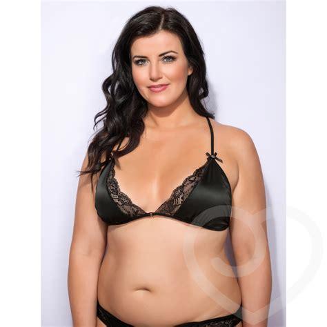 lovehoney  size spoil  satin triangle bra black