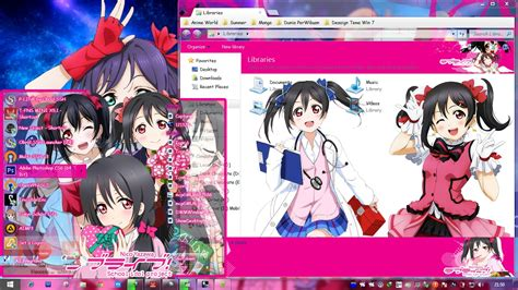 theme google love live yazawa nico love live school idol project windows 7 theme