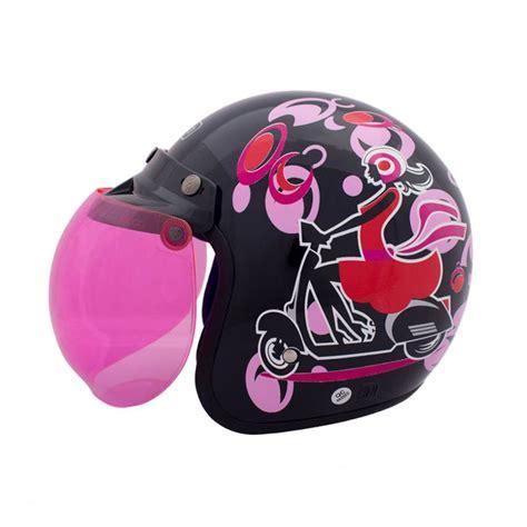 Helm Bogo Standar jual wto helmet retro bogo hitam pink helm half harga kualitas terjamin